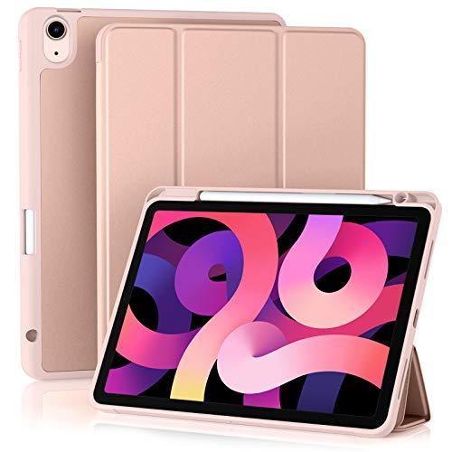 Akkerds - Funda compatible con iPad Air de 4ª generación 2020 de 10,9 pulgadas [soporte para lápiz/carga de 2ª lápiz] [apagado automático/despertar] Funda inteligente con función atril triple compatible con iPad Air 4, rosa