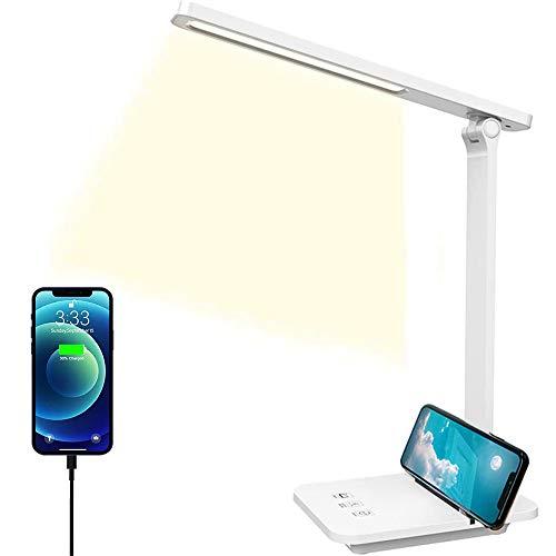 Lámpara Escritorio LED,Lámparas de Mesa USB Regulable Recargable-2500mAh Plegable Luz con Control Táctil(3 Modos de Brillo y atenuación continua,Temporizador de 10min,Modo de lectura) Para Leer,Estudiar, Protege a ojos.