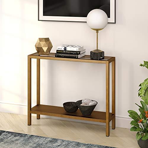 Henn&Hart - Sofá Industrial de Vidrio Perforado para Sala de Estar, Mesa de Consola de latón Estrecha Entrada de Entrada, 36 Pulgadas, Color Dorado