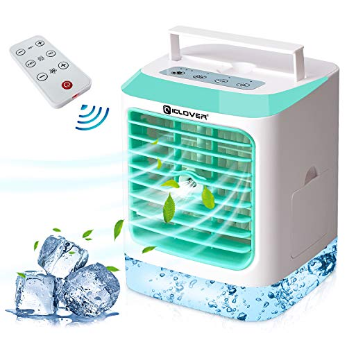 Ventilador portátil de aire acondicionado, enfriador de aire evaporativo con humidificador y función de filtración, ventilador de escritorio pequeño y silencioso con 7 colores de luz control remoto de 3 velocidades para el hogar, oficina, dormitorio, dormitorio