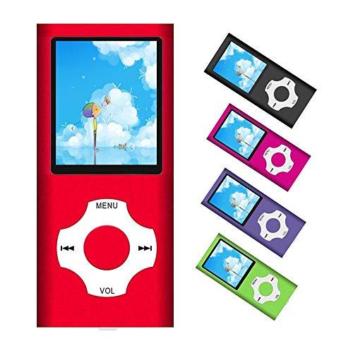 Reproductor de MP3/MP4, reproductor de música portátil con tarjeta TF de 32 GB con música, vídeo, grabación de voz, radio FM, lector de libros electrónicos, visor de fotos, soporta hasta 64 GB (rojo)