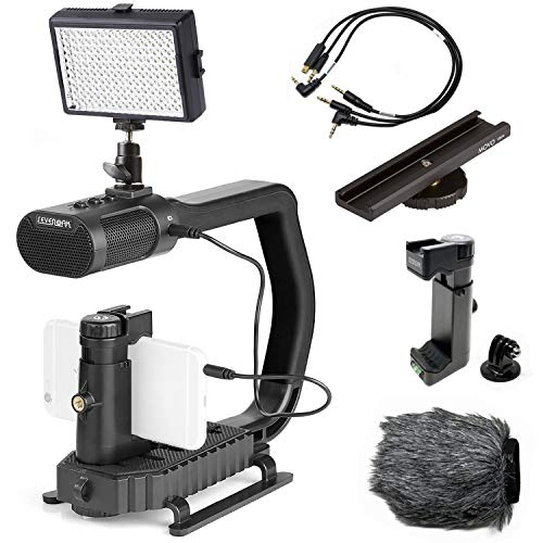 Movo + Mango de agarre Sevenoak Micrig U con micrófono estéreo integrado, luz LED y accesorios de cámara - Estabilizador para cámara, smartphones y cámaras de acción GoPro