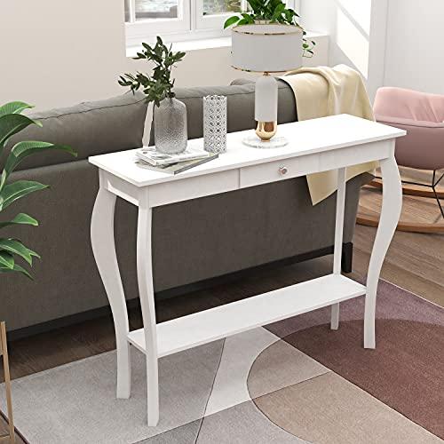 ChooChoo - Mesa de consola estrecha con cajón, mesa de sofá, mesa de entrada, color blanco